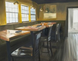 Newburyport Restaurant painting by Eve Plumb