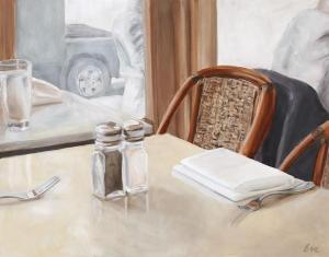NYC Cafe Painting by Eve Plumb