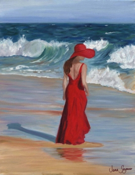 Dress on Woman In A Red Dress  Painting By Jane Seymour