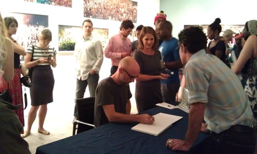 Moby signing books