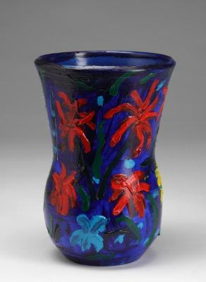 Painted Ceramic Vase by Tony Curtis
