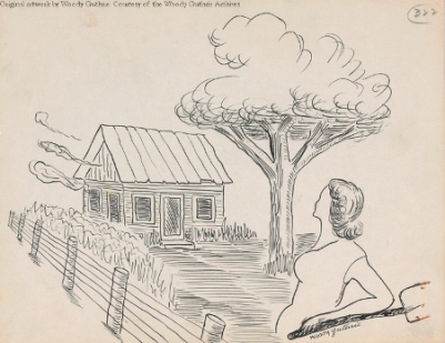 Woman and House, Artwork by Woody Guthrie