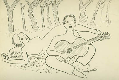 As Woody Sees It, drawing by Woody Guthrie