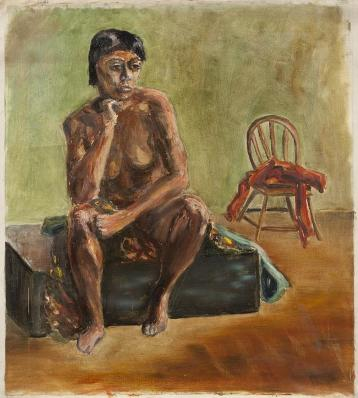 Painting of a seated nude woman by Greta Garbo