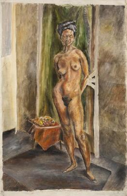 Painting of a standing nude woman by Greta Garbo