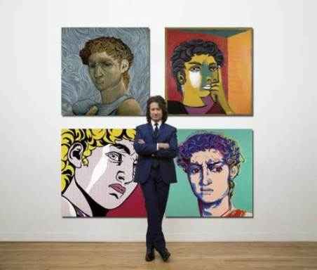 Michael Cartellone with his paintings, The Four Davids
