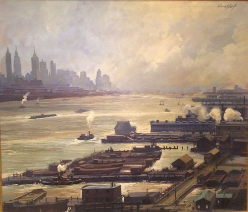 Richard Whorf, East River, New York, oil on board