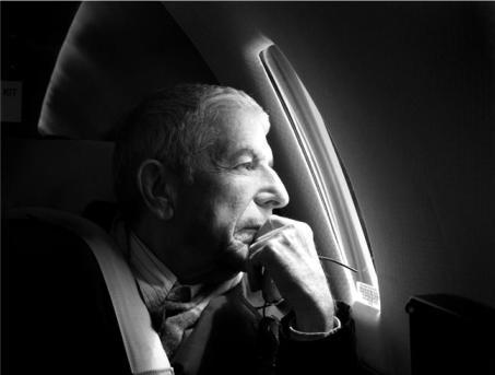 Leonard Cohen at plane window - 2008, By Sharon robinson