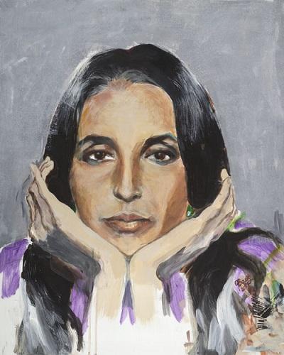 Joan Baez Self Portrait Painting