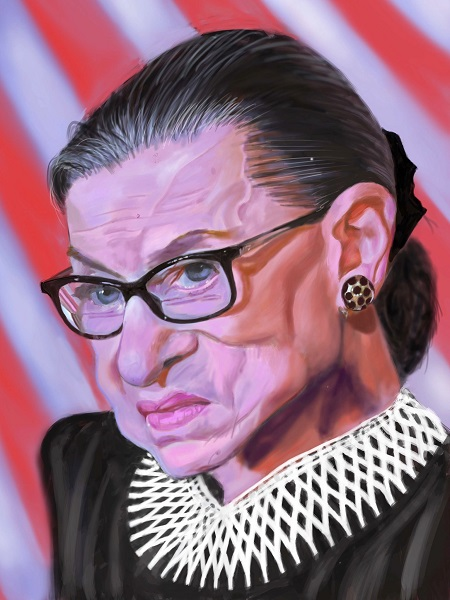 U.S. Supreme Court Justice Ruth Bader Ginsburg Painting by Kevin Nealon