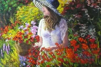 The Artist In Her English Garden by Jane Seymour
