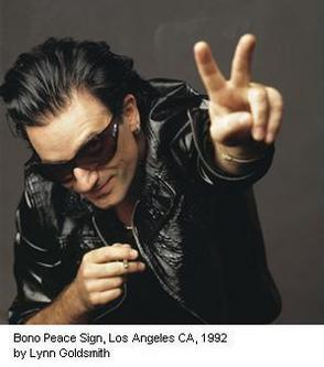 Bono Peace Sign by Lynn Goldsmith
