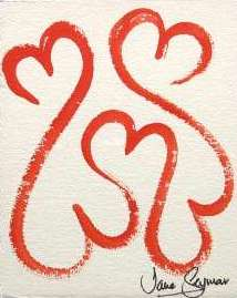 Open Hearts Red from the Healing Hearts series of paintings by Jane Seymour